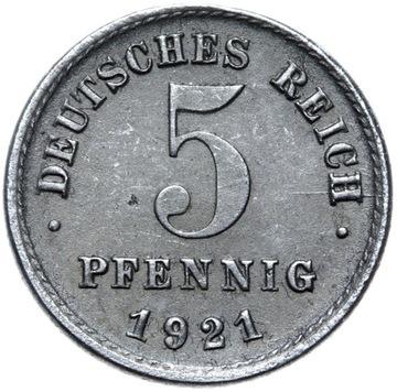Германия - монета 5 Pfennig 1921 J ЖЕЛЕЗО - ГАМБУРГ доставка товаров из Польши и Allegro на русском