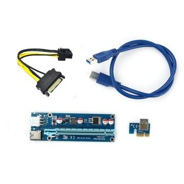 Лента Riser USB3.0 PCI-E PCI 1x-16x 6PIN SATA 006C доставка товаров из Польши и Allegro на русском