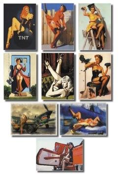 PIN UP Retro Woman Postcard Sada 9 ks