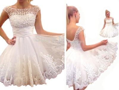 Krótka Suknia Sukienka ślubna Wesele Perły Aj 162 6716703198
