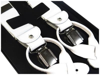 Białe szelki do spodni na guziki - białe skórki
