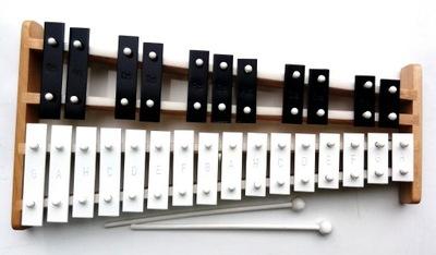 Detský hudobný nástroj - Xylofóny - CYMBALY CHROMATICKÉ PRSTENY 27 TON DREVENÉ