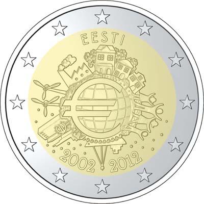 2 euro Estonia 10 lat euro w obiegu 2012
