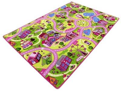 Koberec do detskej izby - KOBERTÉ DETI STREET ROAD ružový TOWN 200X250