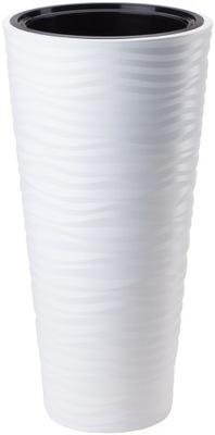 горшок SAHARA 3D ВЫСОКАЯ С ВКЛАДОМ H56 FI30 белая