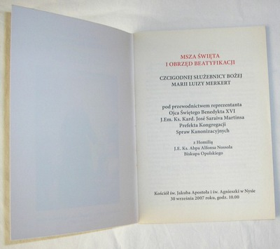 MARIA LUIZA MERKERT BEATYFIKACJA MSZA NYSA 2007
