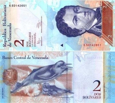 ~ Wenezuela 2 Bolivares F. 2012 P-88e? UNC Piękny