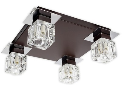 Svietidlá stropné svietidlá - Plafon lampa sufitowa żyrandol 4 klosze szklo