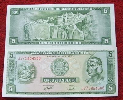 BANKNOT 5 SOLES 1974 ROK STARE PERU INDIANIN UNC