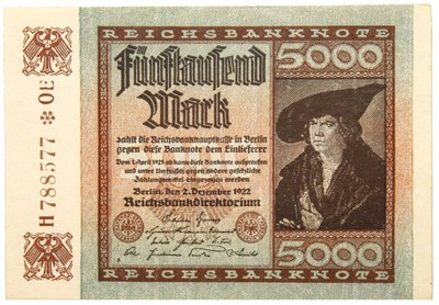 Niemcy - BANKNOT - 5000 Marek 1922 ALBRECHT DURER