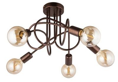Svietidlá - Závesné svietidlá - Lampa sufitowa OSLO 5x60W miedziana Industrialna