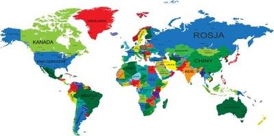 наклейки на стену карта мира цветная 75x150cm