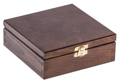 Organizér, kufrík, skrinka - PUDEŁKO pojemnik 16x16cm DREWNO szkatułka BRĄZ