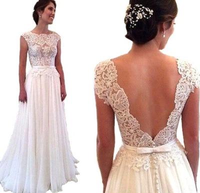 6092e0562b SUKNIA ŚLUBNA sukienka LINIA-A KORONKA 38 M na JUŻ
