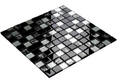 Мозаика стекло черная серебряная BLACK TIGER ENGLASS