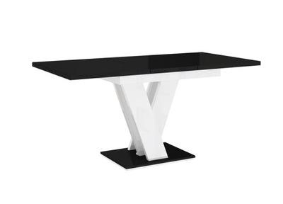 стол ?????????? 120-160 ЧерныйБелый блеск +