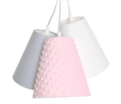 Лампа подвесной светильник Опарыша трикотаж 3 абажуры для детей РОЗОВЫЙ
