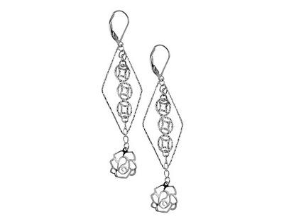 3a912bf2b63b8d Kolczyki róże wiszące, srebrne, 925 + PREZENT - 6767763405 ...