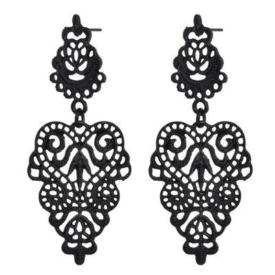 серьги черные ажурное АЖУР бохо Племенной цветы