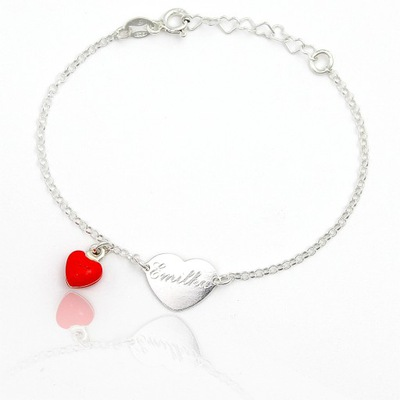 Náramok, koráliky pre deti - Náramok strieborný s červeným srdcom rytec