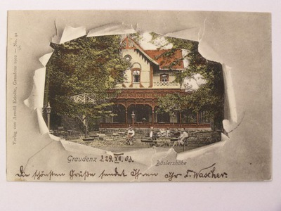 Grudziądz Graudenz restauracja Boeslerhoehe 1903