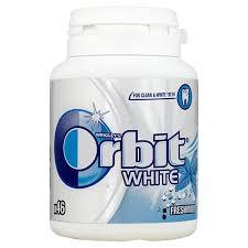 резинка для ЖЕВАТЕЛЬНОЙ, РЕЗИНКИ ORBIT WHITE бутылка - 46 штук .