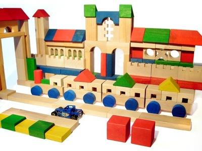 Zabawki DREWNIANE klocki XL 214szt - POJAZDY