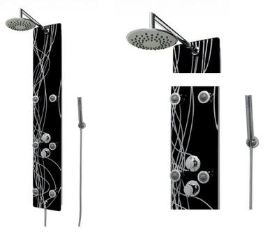 Sprcha - Moderný sprchový panel sklo čierny + vzor