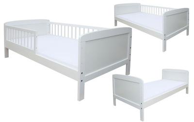 JUNIOR posteľ 160x70 BIELA + ZÁBRADLIE + MATRAC