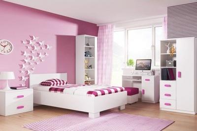 Detský nábytok set s posteľ, skrinka BIELA Mat