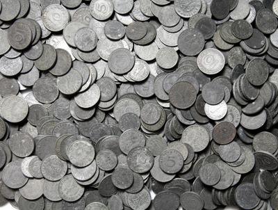 III Рейх Монеты ЦИНКОВЫЕ 1 -10 Pfennig - 100 штук