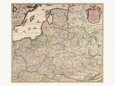польский  Литва карта де Витт 1682 года. холст