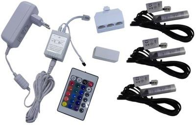 3x klipsy LED RGB do półek szyb klips KOMPLET