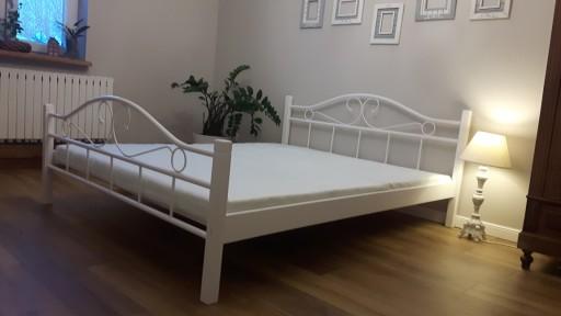 łóżko Metalowe Agata 160x200 Białe I Czarno Białe