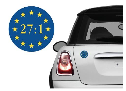 Naklejka na samochód 27:1 Tusk Szydło Unia UE