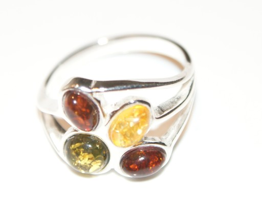 pierścionek BURSZTYN srebro 925 rozmiar 21