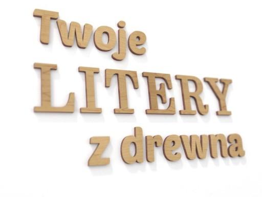 Twoje napisy z drewna Literki 3D ścienne wys. 19cm