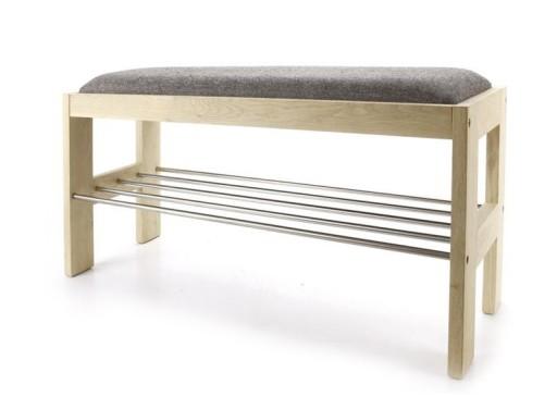 ławka Drewniana Brązowa Szara 80cm Do Przedpokoju