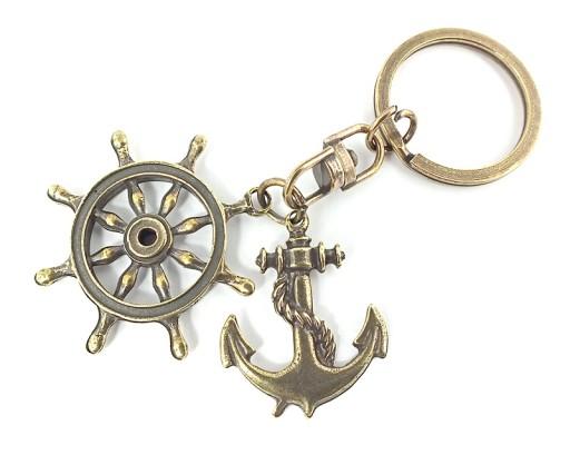 Brelok do kluczy kotwica + koło sterowe - z - 073