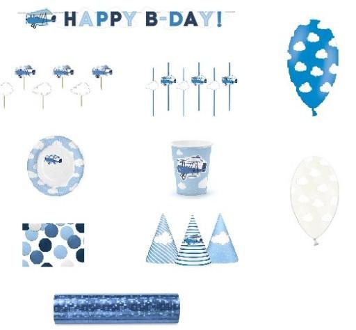 Zestaw Urodzinowy Samolot Roczek Urodziny 58 Elem 6311216771