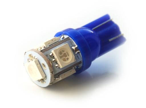 24V niebieski T10 W5W 5 LED x 5050 SMD 7634965918