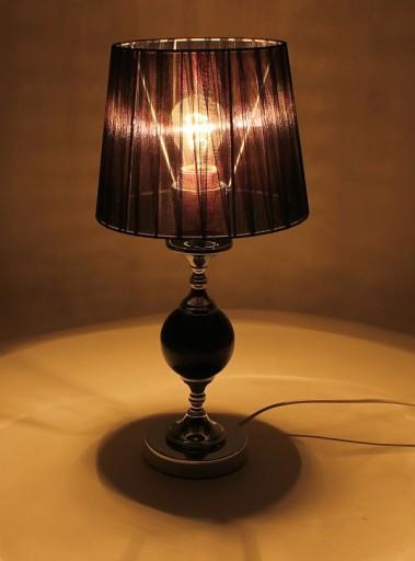 Lampa lampka nocna czarna srebrna stołowa 46 cm