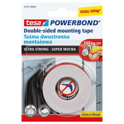 TESA Taśma dwustronna montaż SUPER MOCNA 1,5mx19mm
