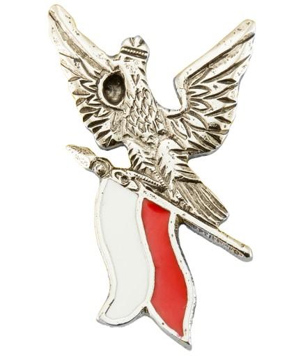 Pin przypinka wpinka znaczek Orzeł z flagą Polski