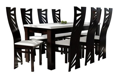 Komplet Biały Wenge Stół Z 8 Krzesłami