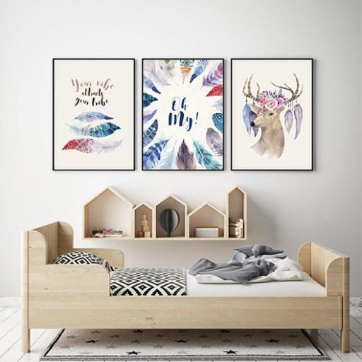 Plakaty Obrazki Kolorowe Piórka Zestaw 3 Szt A4