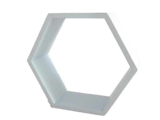 Drewniana Półka Plaster Miodu Hexagon Szary Grey