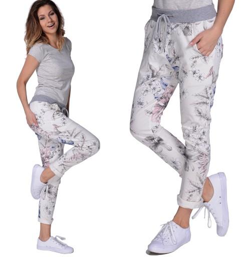 Kwiaty SPODNIE Damskie DRESOWE Wygodne Bawełniane   Spodnie