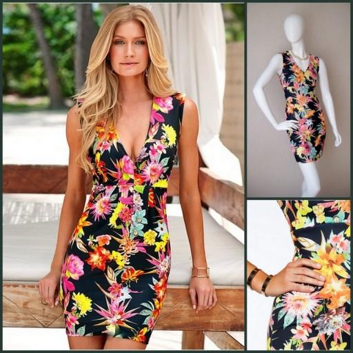 Elegancka Sukienka print w kwiaty 36 S floral