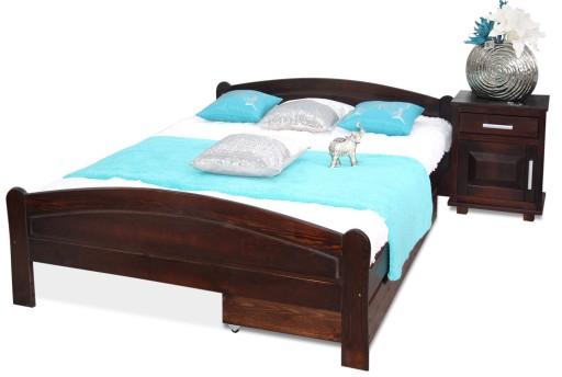 łóżko Drewniane Sosnowe Roksana 160x200 Orzech Ste